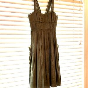 BCBG PARIS army green dress w/ pockets